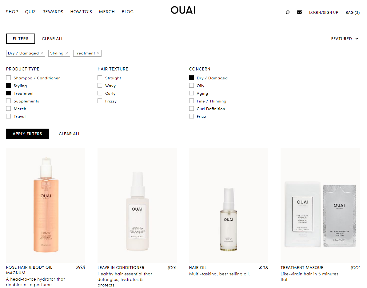 ouai haircare filtering details
