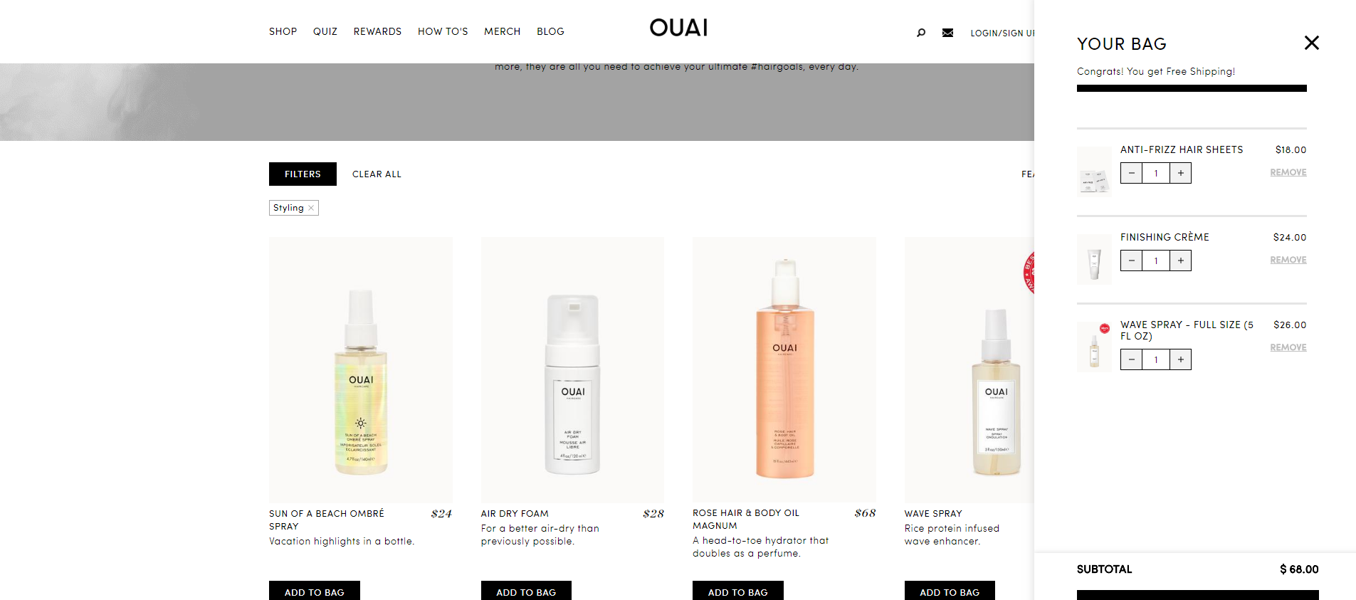 ouai haircare slide out shopping bag feature