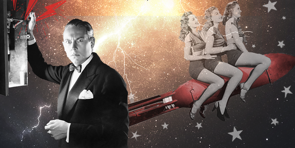 vintage collage of a man pulling a transform box with three vintage women riding a rocket into a lightning storm
